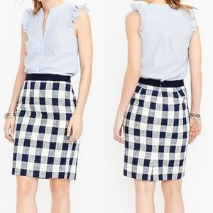 J. Crew Factory Navy Gingham Pencil Skirt 10